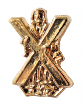 Scotland Patron Saint St Andrew Small Gilt Pin Badge - T338